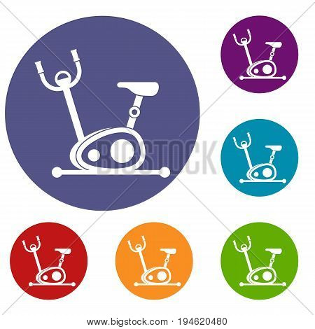 Exercise bike icons set in flat circle reb, blue and green color for web