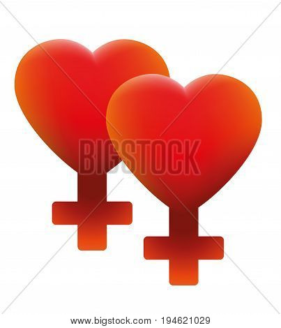 Hot lesbian love symbol - two hearts with fire red female icons - isolated vector illustration on white background.