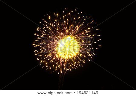 Fireworks in the sky with light in the night