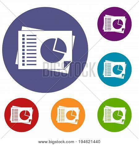 Sheets of paper with charts icons set in flat circle reb, blue and green color for web