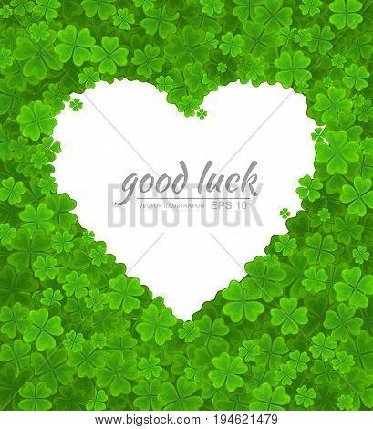 Saint Patricks Day vector design element. Empty white heart on lucky clover or shamrock background. Ireland symbol Irish love template
