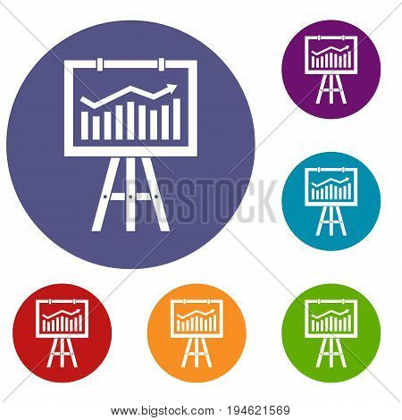 Flipchart with marketing data icons set in flat circle reb, blue and green color for web