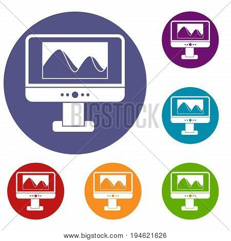 Computer monitor with photo on the screen icons set in flat circle reb, blue and green color for web