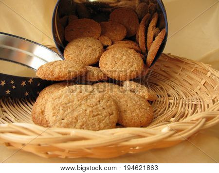 Homemade cookies with spelt flour in basket
