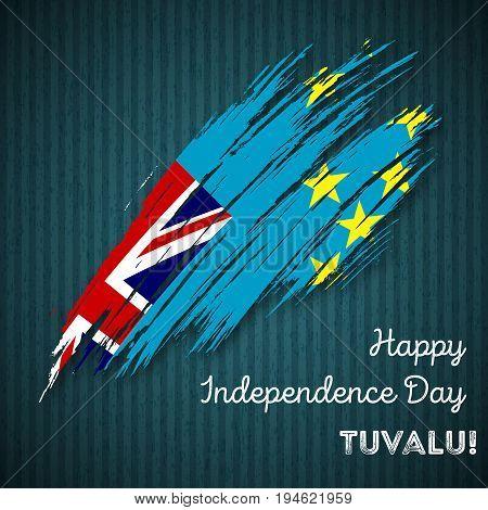 Tuvalu Independence Day Patriotic Design. Expressive Brush Stroke In National Flag Colors On Dark St