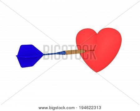 3D Illustration Of A Heart Being Hit By A Dart