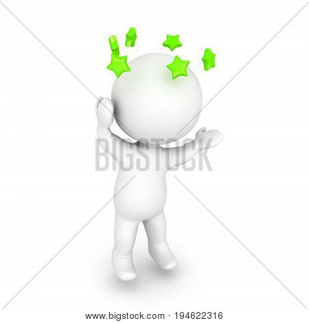 3D Character Is Dizzy And Is Seeing Green Stars Spinning Around His Head