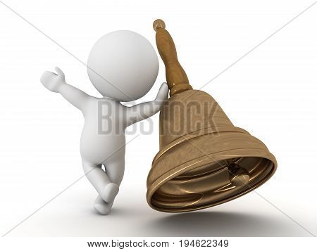 3D Character Waving And Leaning On Bronze Bell