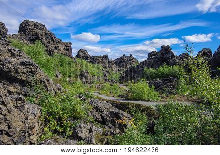 Dimmuborgir - A Rock Town Near The Lake Myvatn In Northern Iceland With Volcanic Caves, Lava Fields