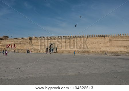 Old medina wall and gate in Fez. Boujloud square Marocco