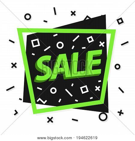 Sale banner with frame green color and memphis background sign sale for hot price, promotion, special offer, black friday, advertisement and discount poster. Vector Illustration