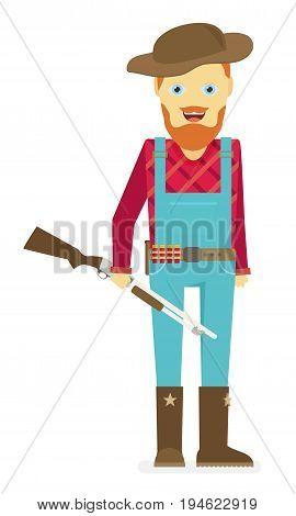 Cartoon Hunter With Gun. Redneck. Isolated On White Background