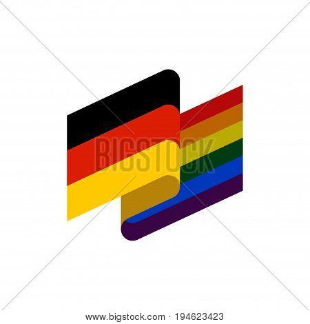 Germany And Lgbt Flag. Symbol Of Tolerant Deutschland. Gay Sign Rainbow