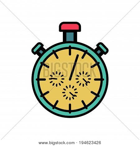 Stopwatch symbol flat design. Detect time sports gadget isolated
