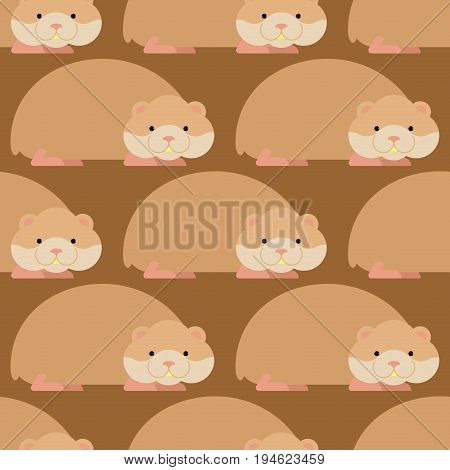 Hamster Pattern. Cute Pet Background. Home Rodent Ornament