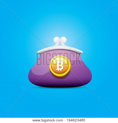 vector bitcoin wallet icon with coins isolated on blue background.