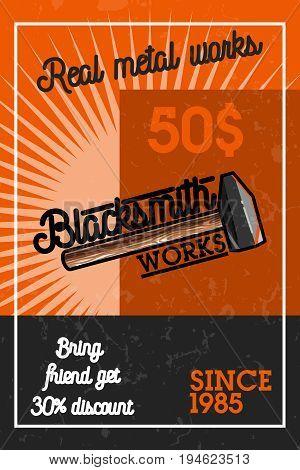 Color vintage blacksmith banner. Vector illustration, EPS 10