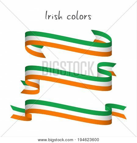 Set of three modern colored vector ribbon with the Irish tricolor isolated on white background abstract Irish flag Made in Ireland logo