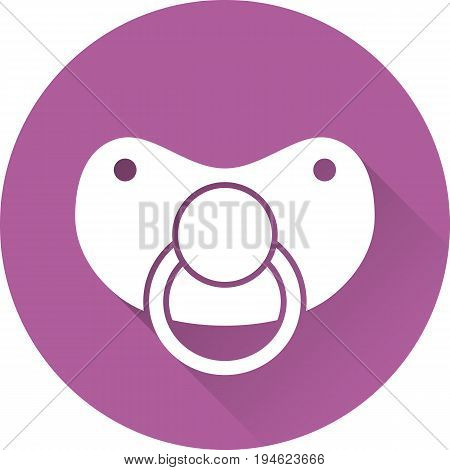 Nipple baby icon. White pacifier on purple background. Vector. Baby shower simple symbol in flat design with long shadow.