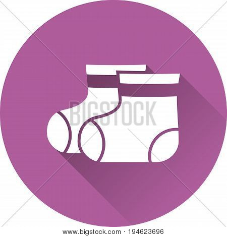 Booties baby icon. Vector. White socks on purple background. Baby shower simple symbol in flat design with long shadow.