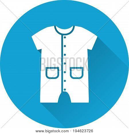 Bodysuit baby icon. Vector. White overall on blue background. Baby shower simple symbol in flat design with long shadow.