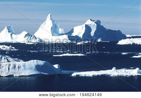 Antarctica, ice bergs and sea