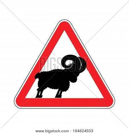 Attention Ram. Caution Farm Animal Sheep. Red Prohibitory Road Sign