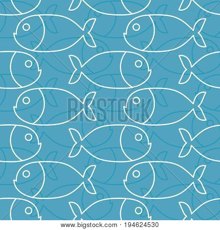 Fish Pattern. Marine Animal Texture. Ornament For Cloth