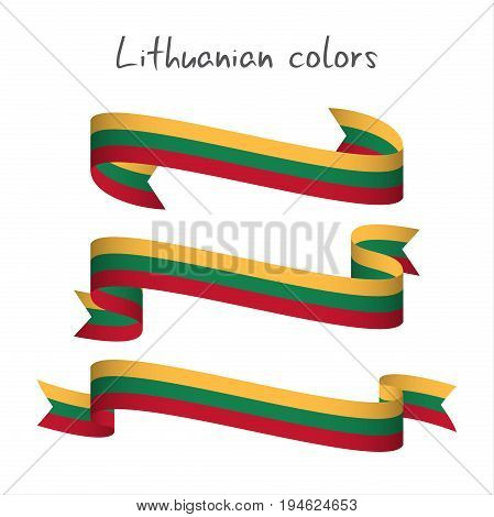 Set of three modern colored vector ribbon with the Lithuanian tricolor isolated on white background abstract Lithuanian flag Made in Lithuania logo