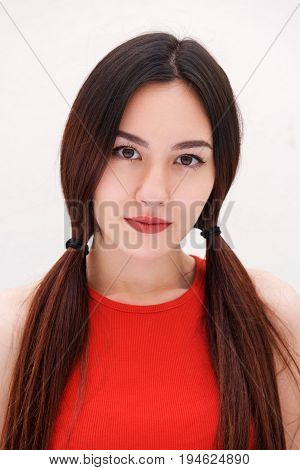 Close Up Serious Woman With Long Hair Staring