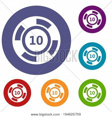 Casino chip icons set in flat circle reb, blue and green color for web