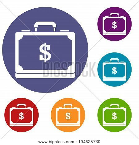 Briefcase full of money icons set in flat circle reb, blue and green color for web