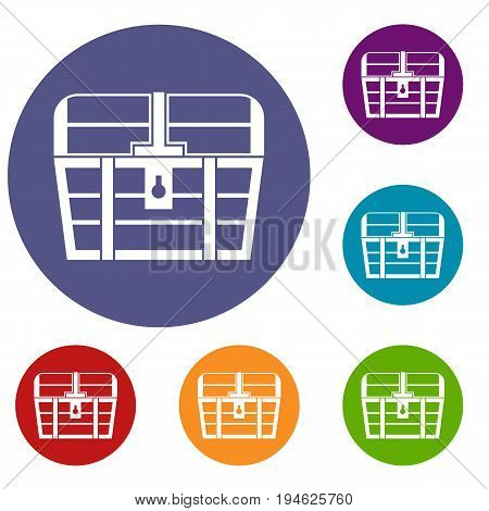Chest icons set in flat circle reb, blue and green color for web