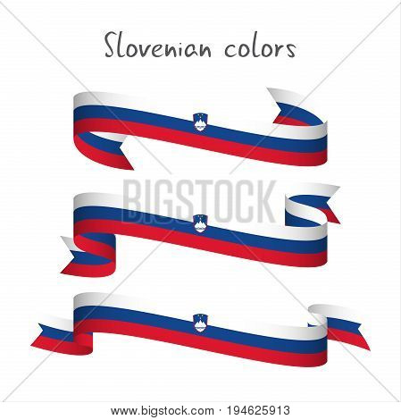 Set of three modern colored vector ribbon with the Slovenian tricolor isolated on white background abstract Slovenian flag Made in Slovenia logo
