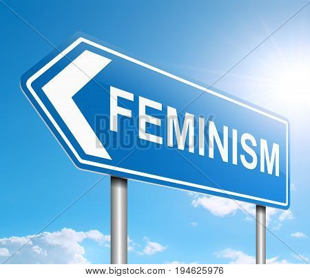 3d Illustration depicting a sign with a feminism concept.