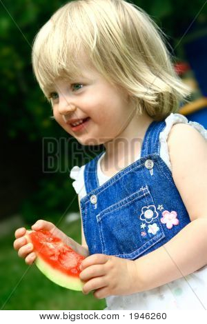 Toddlergirl Enjoying Watermelon