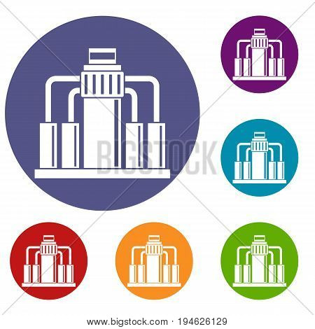 Oil refining icons set in flat circle reb, blue and green color for web