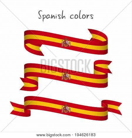 Set of three modern colored vector ribbon with the Spanish colors isolated on white background abstract Spanish flag Made in Spain logo