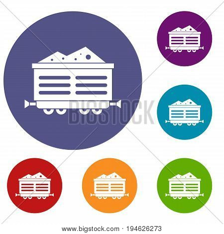 Train waggon with coal icons set in flat circle reb, blue and green color for web