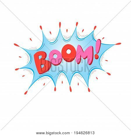 Lettering Boom bomb. Comic text sound effects. Vector bubble icon speech phrase cartoon exclusive font label tag expression sounds illustration