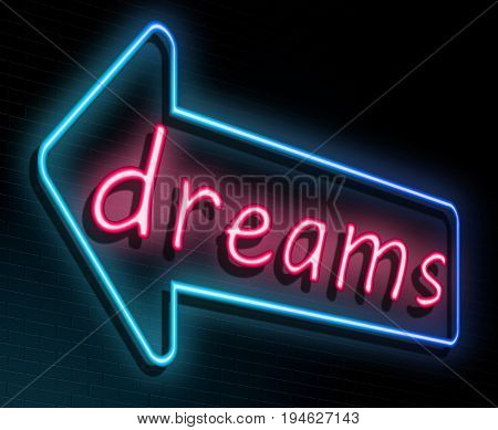 3d Illustration depicting an illuminated neon sign with a dreams concept.