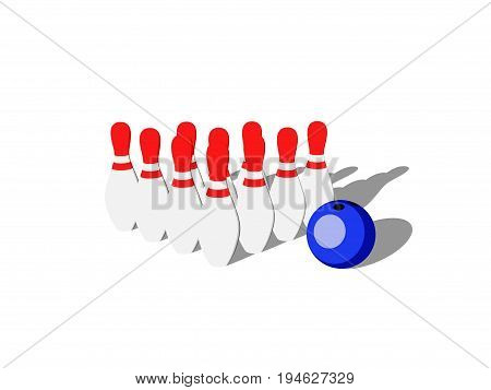 Bowling pins and bowling ball.Isolated on white background. 3D rendering illustration.Cartoon style.