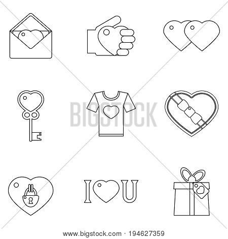 Lineart love heart set icons vector illustration
