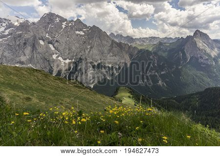 Beautiful scenery of the Marmolada Massif. Dolomites. Italy.