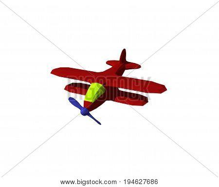 Polygonal retro plane. Isolated on white background. 3D rendering illustration.