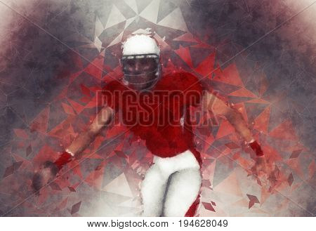 American football player polygon design