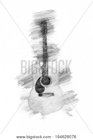hand drawning guitar design