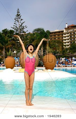 Girl Excited Being By The Hotel Pool