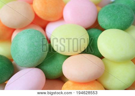 Closed up Heap of Pastel Color Round Candies, for Texture and Background with Selective Focus