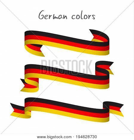Set of three modern colored vector ribbon with the German tricolor isolated on white background abstract German flag Made in Germany logo